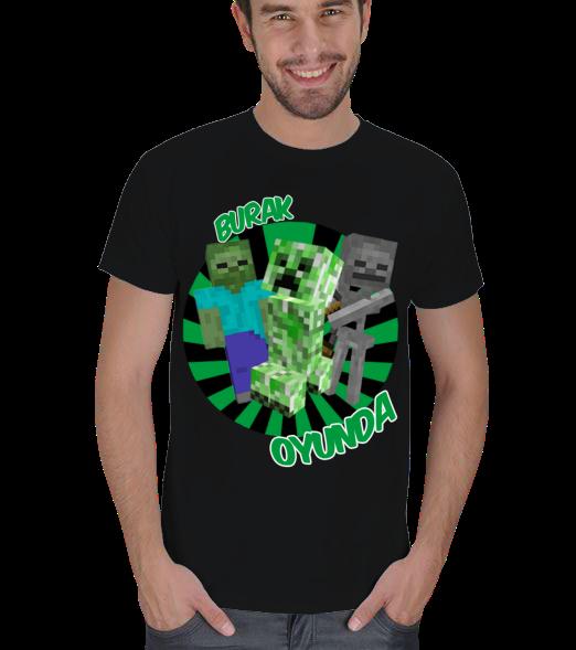 Burak Oyunda Minecraft Tasarım Erkek Tişört Minecraft Serisinin Efsane Karakterleri Creeper, Zombie Ve Skeleton bir arada Burak Oyundada  131121164325882522472693-