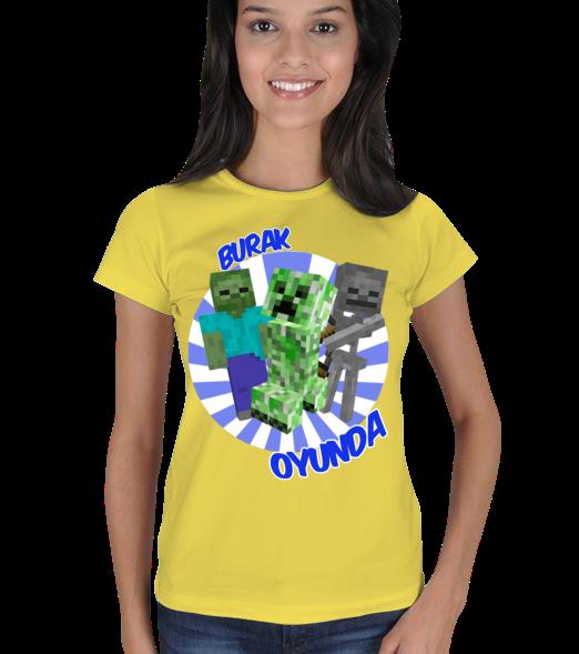 Minecraft Tasarım - Bayan Kadın Tişört Minecraft Serisinin Efsane Karakterleri Creeper, Zombie Ve Skeleton bir arada Burak Oyundada  131121171558882522477983-